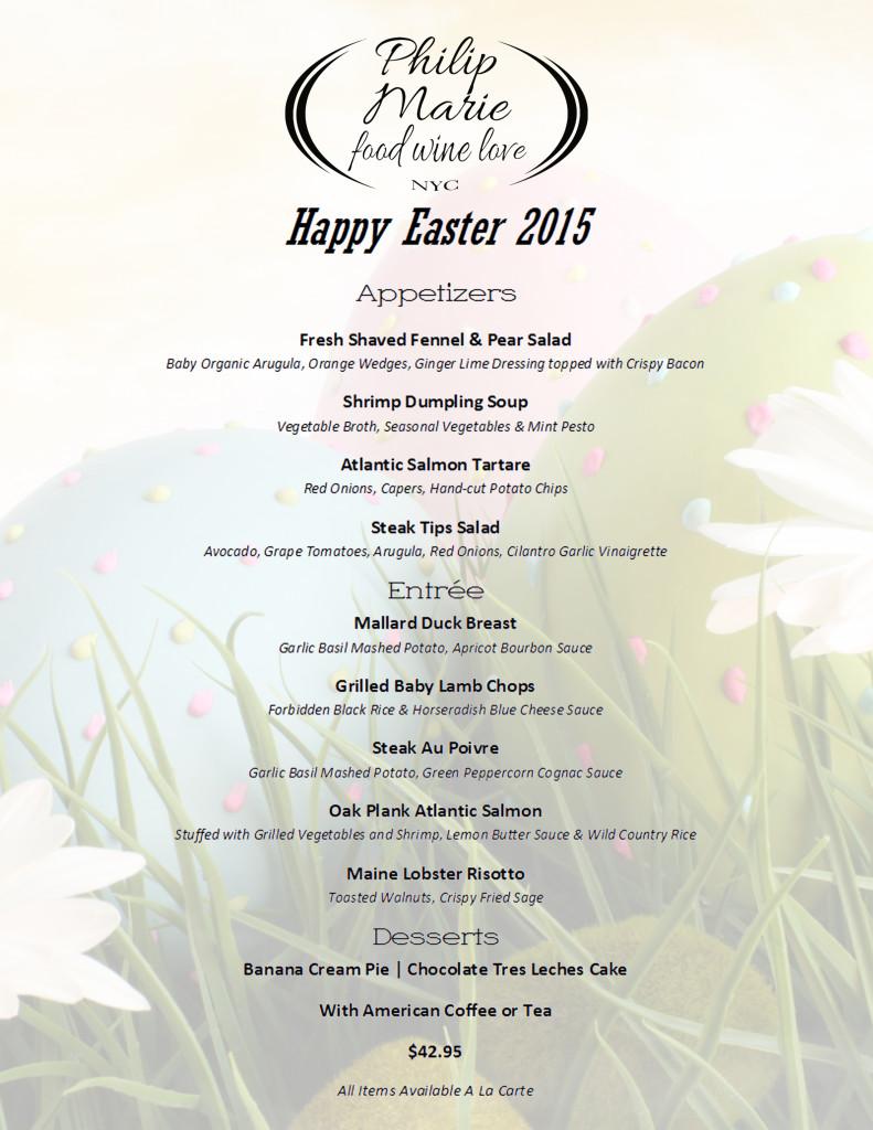 Easter 2015 Menu
